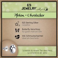 EYS JEWELRY Damen Ohrringe Hunde Pfoten 925 Sterling Silber oxidiert Tatzen Ohrstecker Damenohrringe Damenohrstecker