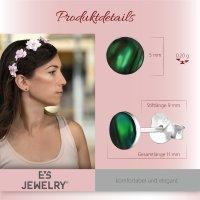 EYS JEWELRY Damen Ohrringe rund Abalone Paua Muschel Green-Grün 925 Sterling Silber 6 mm Ohrstecker Damenohrringe Damenohrstecker