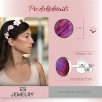 EYS JEWELRY Damen Ohrringe rund Abalone Paua Muschel Pink-Rosa 925 Sterling Silber 6 mm Ohrstecker Damenohrringe Damenohrstecker