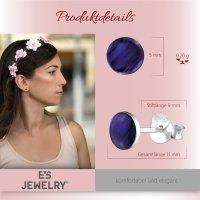 EYS JEWELRY Damen Ohrringe rund Abalone Paua Muschel Purple-Lila 925 Sterling Silber 6 mm Ohrstecker Damenohrringe Damenohrstecker