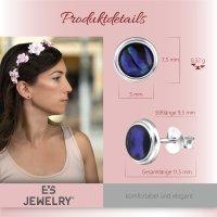 EYS JEWELRY Damen Ohrringe rund Abalone Paua Muschel 925 Sterling Silber 8 mm Ohrstecker Damenohrringe Damenohrstecker