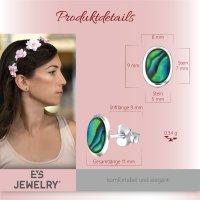 EYS JEWELRY Damen Ohrringe oval Abalone Paua Muschel 925 Sterling Silber 9 x 6 mm Ohrstecker Damenohrringe Damenohrstecker