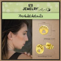 EYS JEWELRY Damen Ohrringe Hunde Pfoten 316L Edelstahl vergoldet Tatzen Ohrstecker Damenohrringe Damenohrstecker