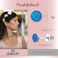 EYS JEWELRY Damen Ohrringe rund 925 Sterling Silber 6 mm Opal Schmuck Ohrstecker Damenohrringe Damenohrstecker