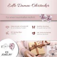 EYS JEWELRY  Herz 925 Sterling Silber Glitzer Kristalle lila Damen-Ohrringe