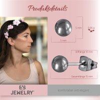 EYS JEWELRY Damen Ohrringe rund Titan 5 mm Ohrstecker Kugel Damenohrringe Damenohrstecker