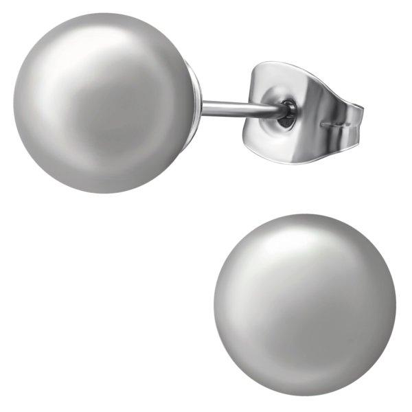 EYS JEWELRY Damen Ohrringe Chirurgenstahl 316L Perle grau 8 mm Ohrstecker Damenohrringe Damenohrstecker