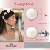 EYS JEWELRY Damen Ohrringe Chirurgenstahl 316L Perle weiß 8 mm Ohrstecker Damenohrringe Damenohrstecker