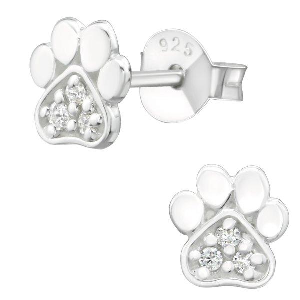 EYS JEWELRY Damen Ohrringe Hunde Pfoten 925 Sterling Silber Zirkonia kristall-weiß Tatzen Ohrstecker Damenohrringe Damenohrstecker