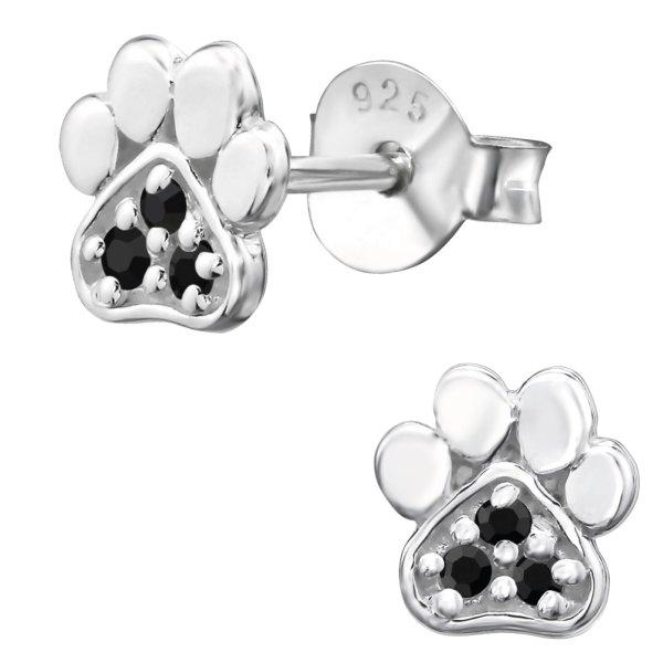 EYS JEWELRY Damen Ohrringe Hunde Pfoten 925 Sterling Silber Zirkonia onyx-schwarz Tatzen Ohrstecker Damenohrringe Damenohrstecker