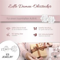 EYS JEWELRY  rund 925 Sterling Silber Zirkonia kristall-weiß Damen-Ohrringe