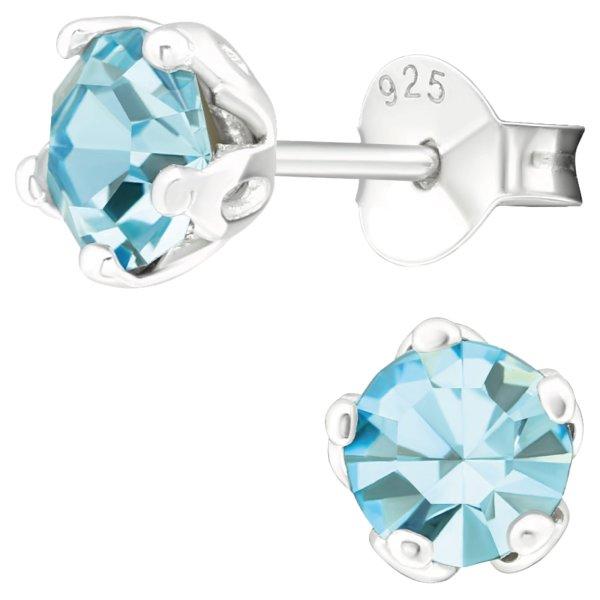 EYS JEWELRY Damen Ohrringe rund 925 Sterling Silber Glitzer-Kristall Aquamarin-blau 6 mm Ohrstecker Damenohrringe Damenohrstecker