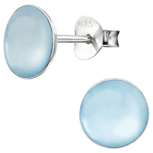 EYS JEWELRY Damen Ohrringe rund 925 Sterling Silber Perlmutt 7 mm Ohrstecker Damenohrringe Damenohrstecker