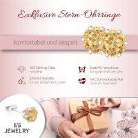 EYS JEWELRY Damen Ohrringe rund 925 Sterling Silber Zirkonia 6 mm Ohrstecker Damenohrringe Damenohrstecker