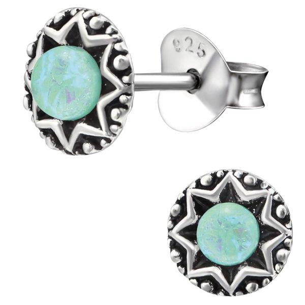 EYS JEWELRY Damen Ohrringe rund 925 Sterling Silber oxidiert 6 mm Opal Schmuck Vintage Ohrstecker Damenohrringe Damenohrstecker