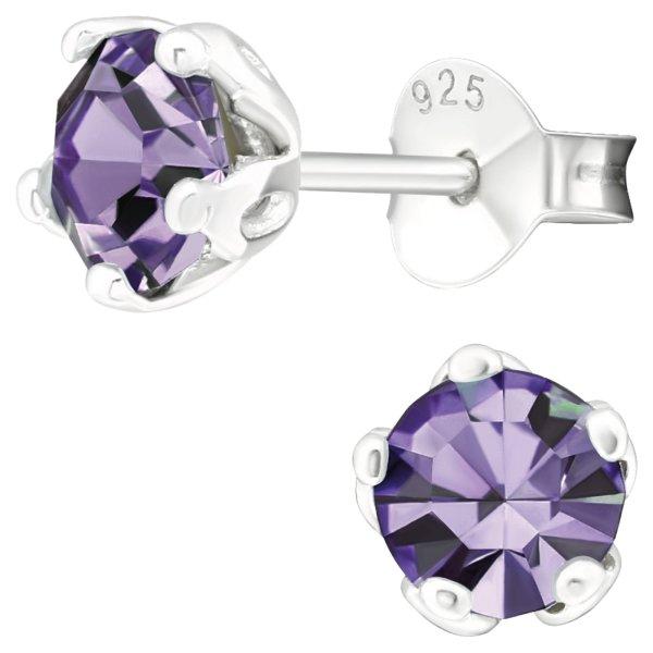 EYS JEWELRY Damen Ohrringe rund 925 Sterling Silber Glitzer-Kristall Amethyst-lila 6 mm Ohrstecker Damenohrringe Damenohrstecker