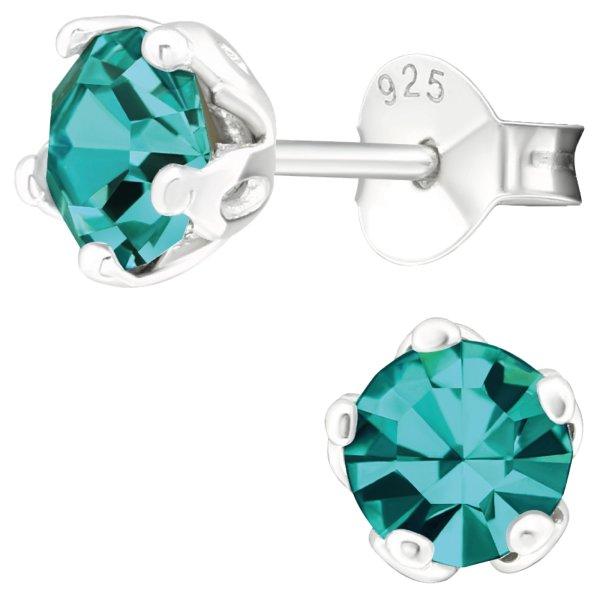 EYS JEWELRY Damen Ohrringe rund 925 Sterling Silber Glitzer-Kristall Zirkon-blau 6 mm Ohrstecker Damenohrringe Damenohrstecker