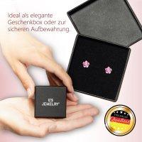 EYS JEWELRY Damen Ohrringe rund 925 Sterling Silber Glitzer-Kristall Rosé-pink 6 mm Ohrstecker Damenohrringe Damenohrstecker