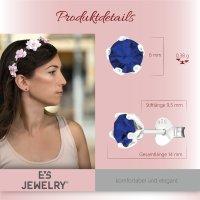 EYS JEWELRY Damen Ohrringe rund 925 Sterling Silber Glitzer-Kristall Saphir-blau 6 mm Ohrstecker Damenohrringe Damenohrstecker