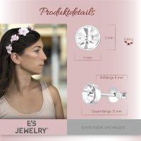 EYS JEWELRY Damen Ohrringe 925 Sterling Silber Glitzer-Kristall 5 mm Weiß Ohrstecker Schmuck Damenohrringe Damenohrstecker