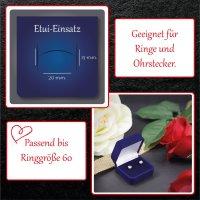 EYS JEWELRY  Schmuck-Etui für Ring 40 x 40 x 28 mm Samt blau Ring-Box Schachtel Schatulle Geschenk-Verpackung