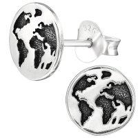 EYS JEWELRY Damen Ohrringe Weltkarte 925 Sterling Silber...