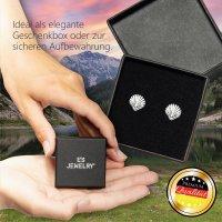 EYS JEWELRY Damen Ohrringe Jakobsmuschel 925 Sterling Silber oxidiert 9 x 9 mm Muschel Ohrstecker Damenohrringe Damenohrstecker