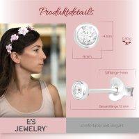 EYS JEWELRY Damen Ohrringe rund 925 Sterling Silber Zirkonia weiß 4 mm Ohrstecker Damenohrringe Damenohrstecker