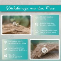 EYS JEWELRY GESCHENKBOX Damen-Schmuckset 925 Sterling Silber Shiva Auge Muschel Ohrringe Anhänger Halskette