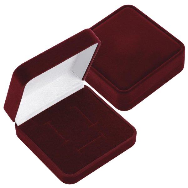 EYS JEWELRY  Schmuck-Etui für Schmuckset Halskette Ohrringe Anhänger 90 x 90 x 25 mm Samt bordeaux-rot Halskette-Box Ohrring-Schachtel Schatulle Geschenk-Verpackung