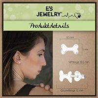 EYS JEWELRY Damen Ohrringe Hunde-Knochen 925 Sterling Silber 5 x 8 mm Ohrstecker Damenohrringe Damenohrstecker