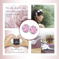 EYS JEWELRY  rund 925 Sterling Silber Zirkonia rosa-pink Damen-Ohrringe