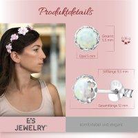 EYS JEWELRY Damen Ohrringe rund 925 Sterling Silber 5 mm Ohrstecker Opal Schmuck Damenohrringe Damenohrstecker