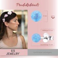 EYS JEWELRY Damen Ohrringe Perlen 925 Sterling Silber 4 mm Ohrstecker Opal Schmuck Damenohrringe Damenohrstecker