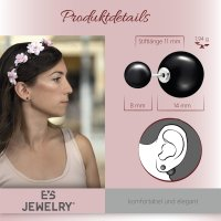 EYS JEWELRY  Perlen 925 Sterling Silber schwarz Damen-Ohrringe