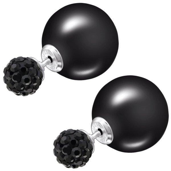 EYS JEWELRY  Perlen 925 Sterling Silber Preciosa Elements Glitzer Kristalle schwarz Damen-Ohrringe