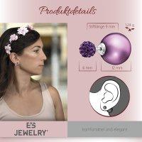 EYS JEWELRY  Perlen 925 Sterling Silber Preciosa Elements Glitzer Kristalle violett-lila Damen-Ohrringe