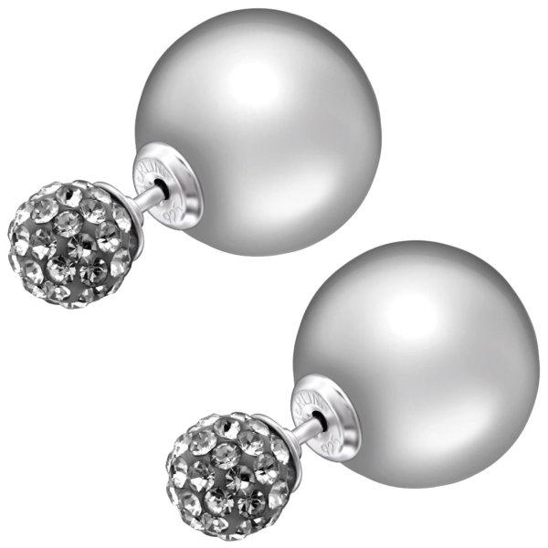 EYS JEWELRY  Perlen 925 Sterling Silber Preciosa Elements Glitzer Kristalle grau Damen-Ohrringe