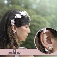 EYS JEWELRY  Perlen 925 Sterling Silber Preciosa Elements Glitzer Kristalle weiß Damen-Ohrringe