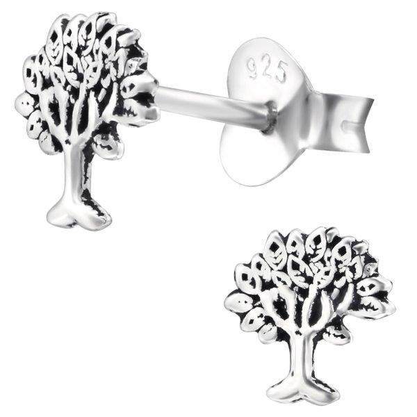 EYS JEWELRY Damen Ohrringe Baum des Lebens 925 Sterling Silber oxidiert 6 x 6 mm Lebensbaum Ohrstecker Damenohrringe Damenohrstecker