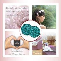 EYS JEWELRY Damen Ohrringe Perlen 925 Sterling Silber Preciosa Elements Glitzer Kristalle 6 mm Ohrstecker Damenohrringe Damenohrstecker