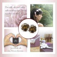 EYS JEWELRY  rund 925 Sterling Silber Glitzer Kristalle topas-braun Damen-Ohrringe