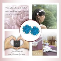 EYS JEWELRY  rund 925 Sterling Silber Glitzer Kristalle capri-blau Damen-Ohrringe