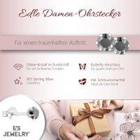 EYS JEWELRY  rund 925 Sterling Silber Glitzer Kristalle diamant-schwarz Damen-Ohrringe
