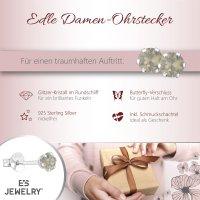 EYS JEWELRY  rund 925 Sterling Silber Glitzer Kristalle light-grey-opal Damen-Ohrringe