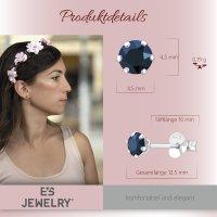 EYS JEWELRY  rund 925 Sterling Silber Glitzer Kristalle metallic-blau Damen-Ohrringe