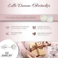 EYS JEWELRY  rund 925 Sterling Glitzer Kristalle white-opal Damen-Ohrringe