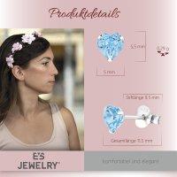 EYS JEWELRY  Herz 925 Sterling Silber  Glitzer Kristalle aquamarin-blau Damen-Ohrringe