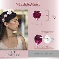 EYS JEWELRY  Herz 925 Sterling Silber Swarovski Elements Glitzer Kristalle pink-fuchsia Damen-Ohrringe