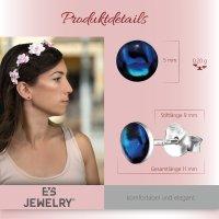 EYS JEWELRY Damen Ohrringe rund Abalone Paua Muschel Dark-Blue 925 Sterling Silber 6 mm Ohrstecker Damenohrringe Damenohrstecker